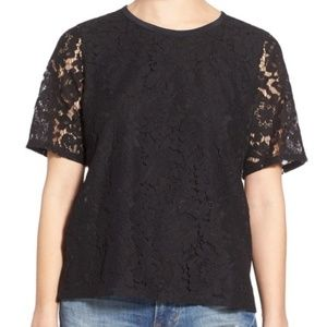 Madwell Lace Tee Sz XL Black Short Sleeve Top